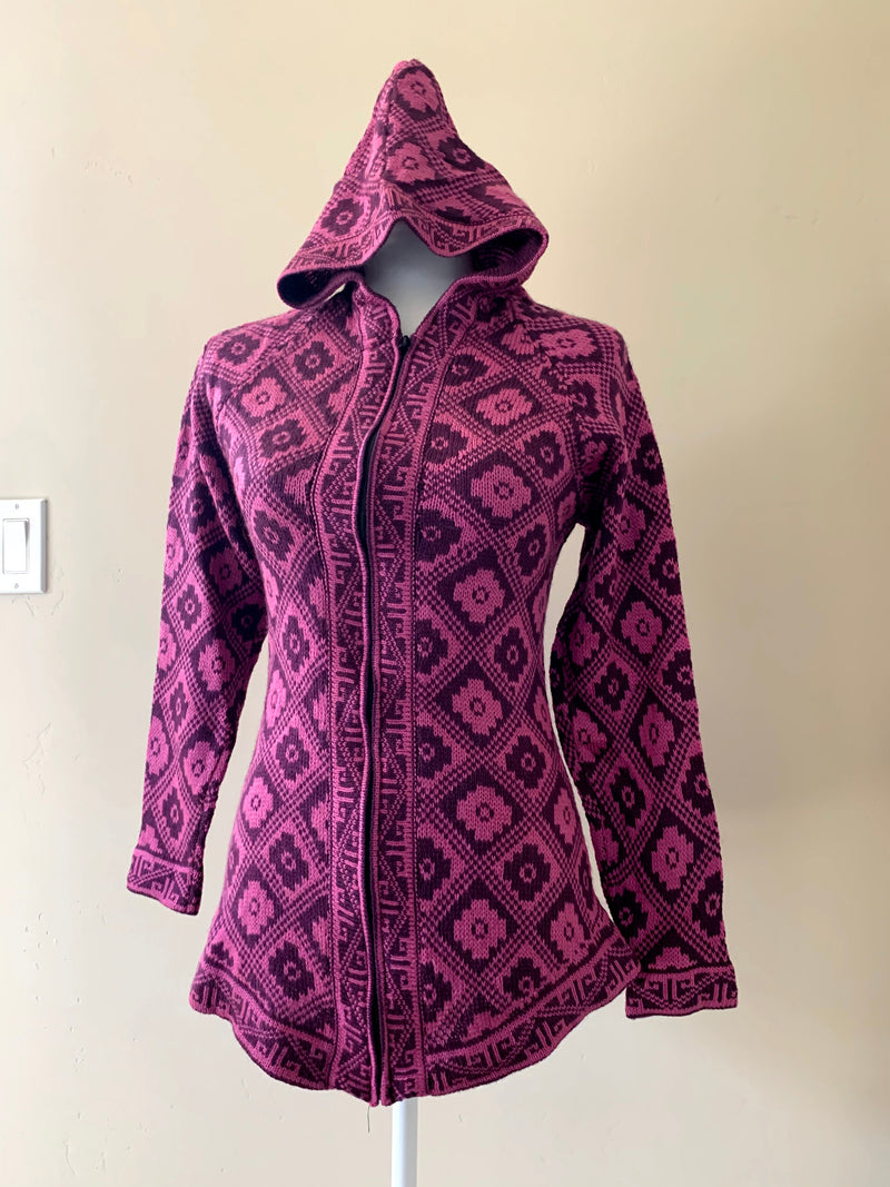 Chincheros Sweater Purple and Black Chakana w/ Zipper