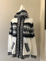 Chincheros Sweater Off White and Black w/ Zipper - Medium Size