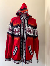 Chincheros Sweater Hot Red and Black w/ Zipper