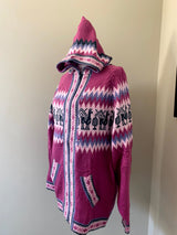 Chincheros Sweater Lilac and White  w/ Zipper