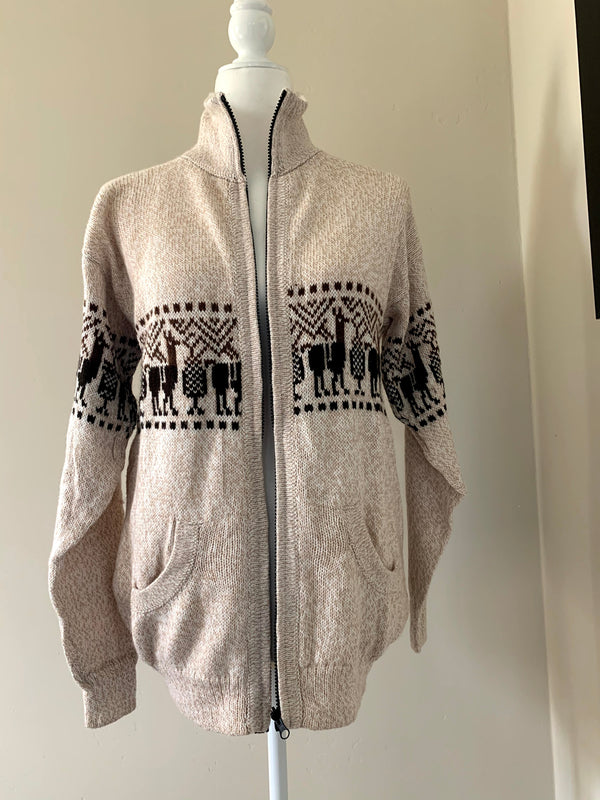 Chincheros Men Sweater Beige Large