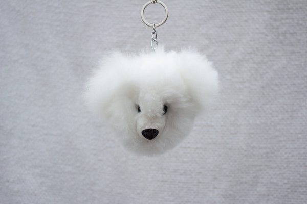 Alpaca Fur Keychain White Bear