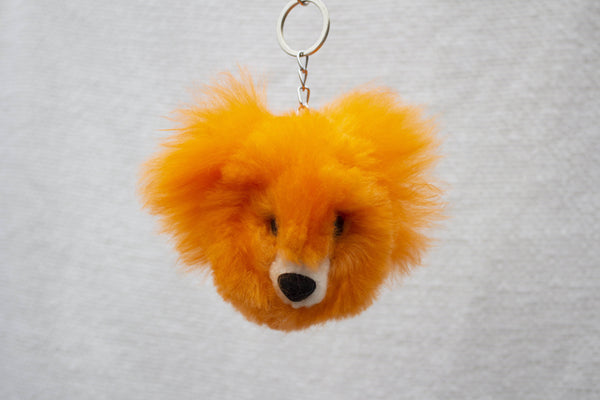 Alpaca Fur Keychain Orange Bear