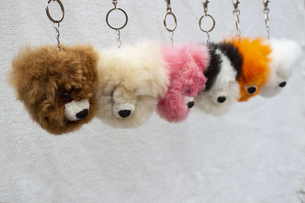 Alpaca Fur  Keychain Brown Bear