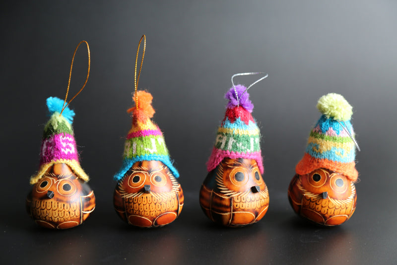 Andean Owl Ornament Gourds