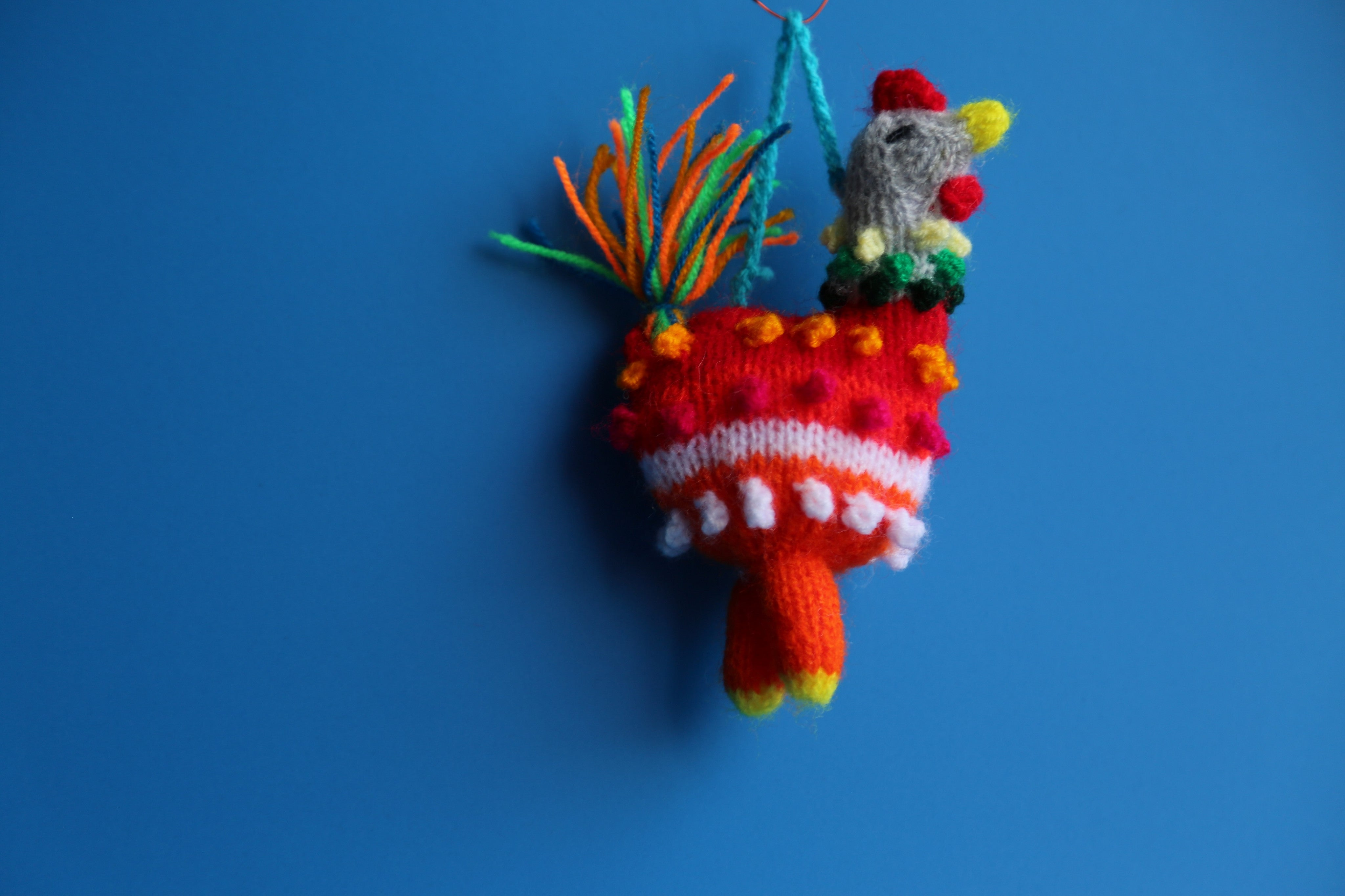 Hand Knitted Chicken Ornament