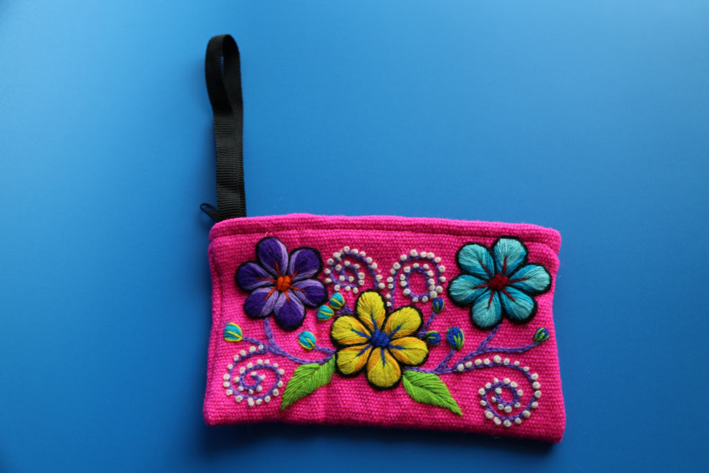 Hand Woven Pink Pouch