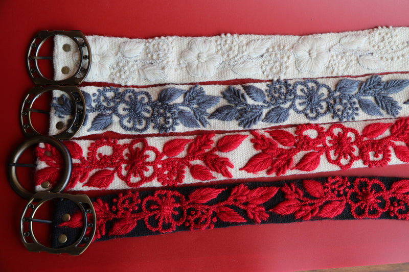Hand Woven White and Red Belt