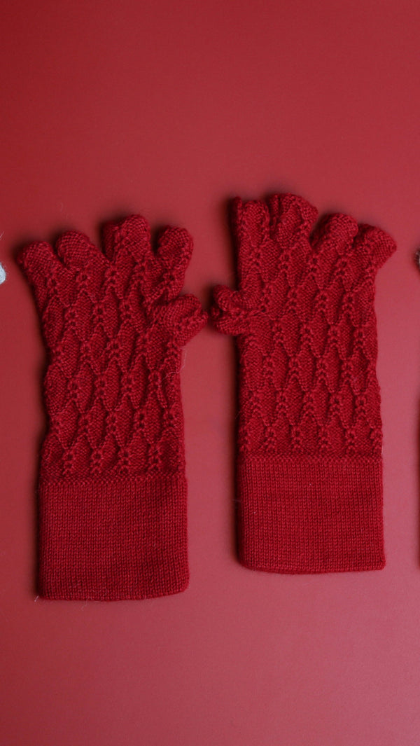 Alpaca Gloves Web Red
