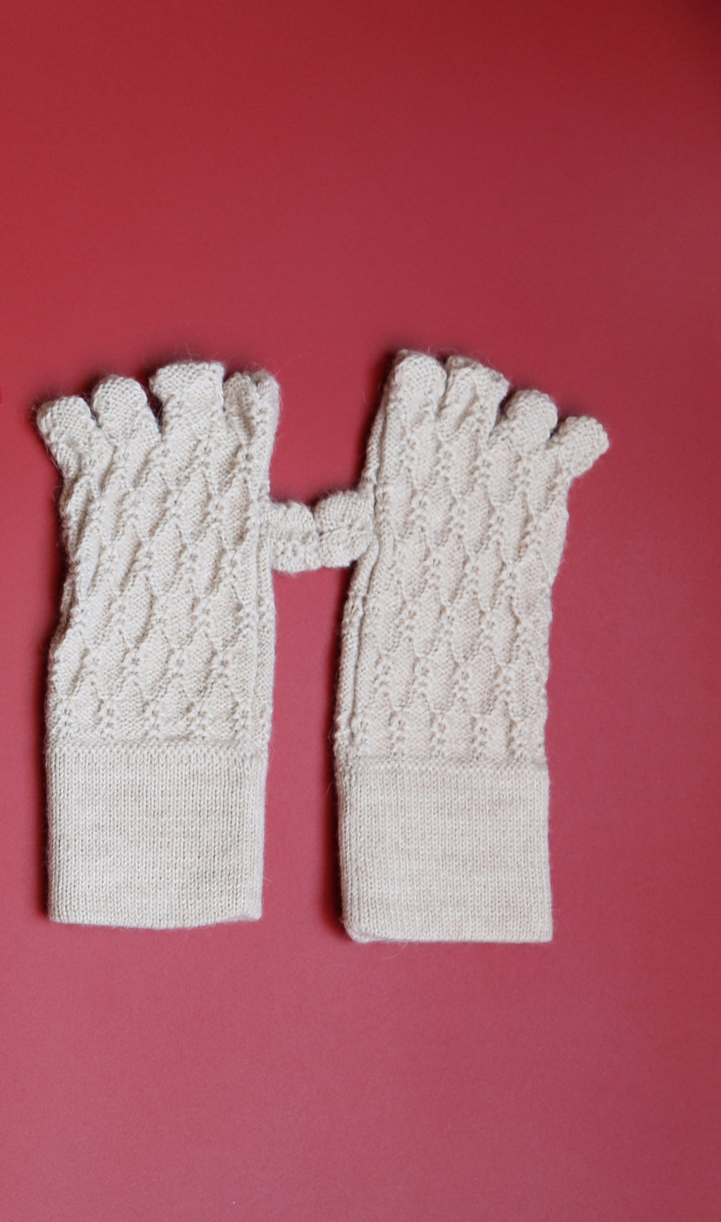 Alpaca Gloves Web Beige