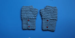 Alpaca Gloves Buttons Blue