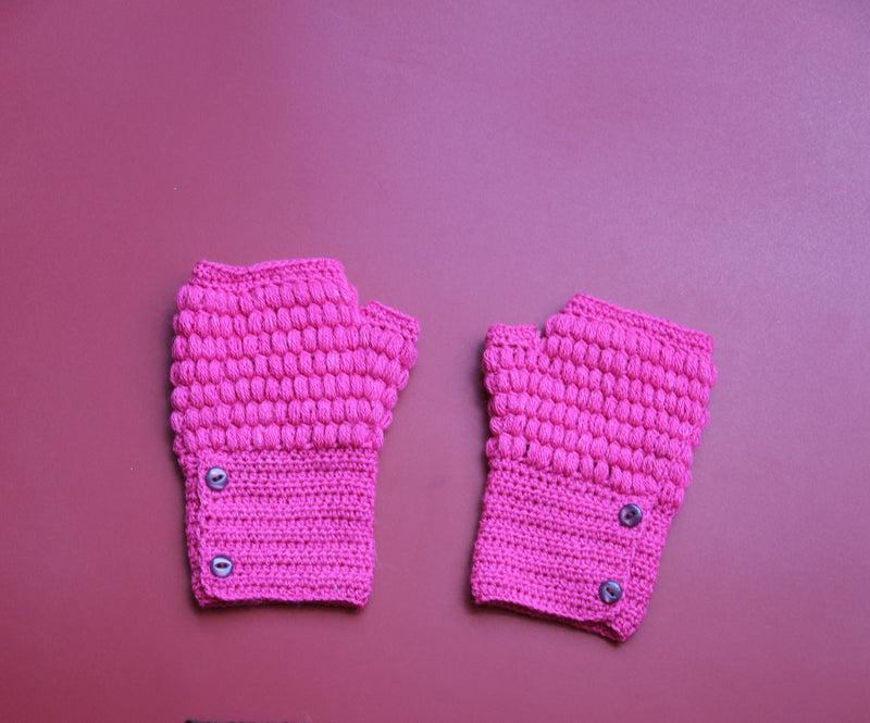 Alpaca Gloves Buttons Fuchsia