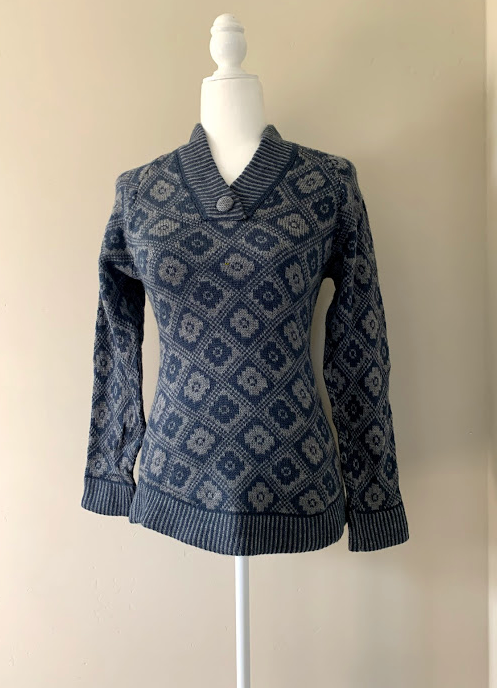 Chincheros Chakana Sweater Grey and Blue Medium