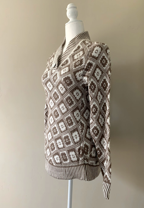 Chincheros Chakana Sweater White and Brown Medium