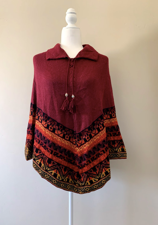 Chincheros Alpaca Mixed Poncho Red