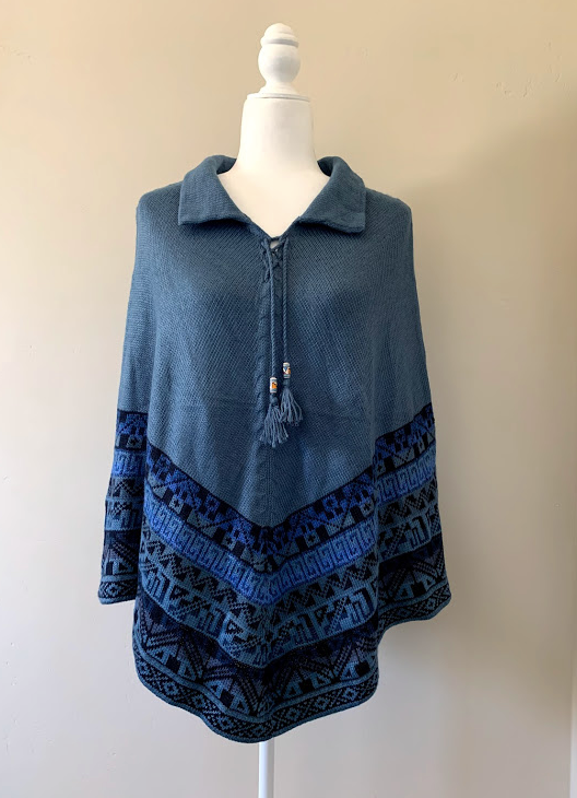 Chincheros Alpaca Mixed Poncho Blue