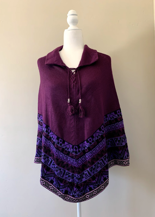Chincheros Alpaca Mixed Poncho Purple
