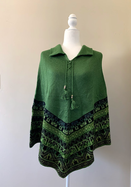 Chincheros Alpaca Mixed Poncho Green