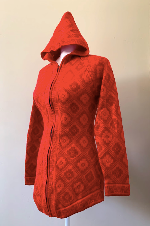 Chincheros Chakana Sweater Red  w/ Zipper