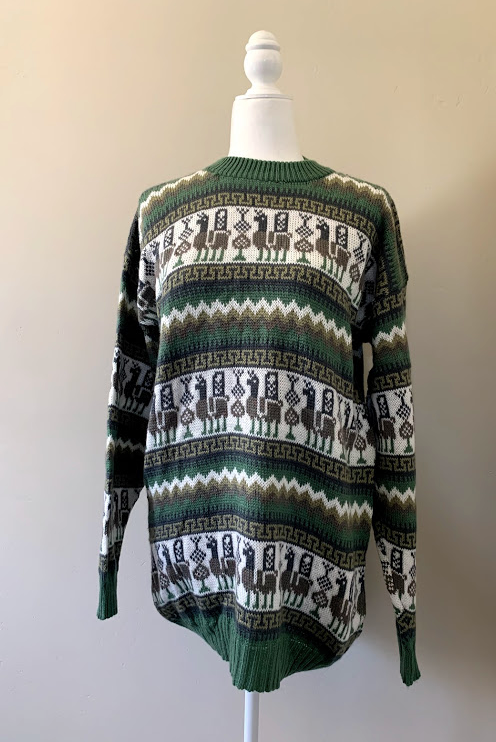 Chincheros Men Sweater Llama Green Large