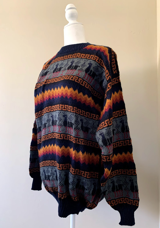 Chincheros Men Sweater Black Llama Large