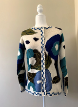 Chincheros Baby Alpaca Sweater with Flowers - Large