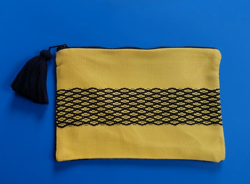 Hand Woven Cotton Pouch Black and Yellow