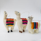Holiday Ornament Llama with colorful textile