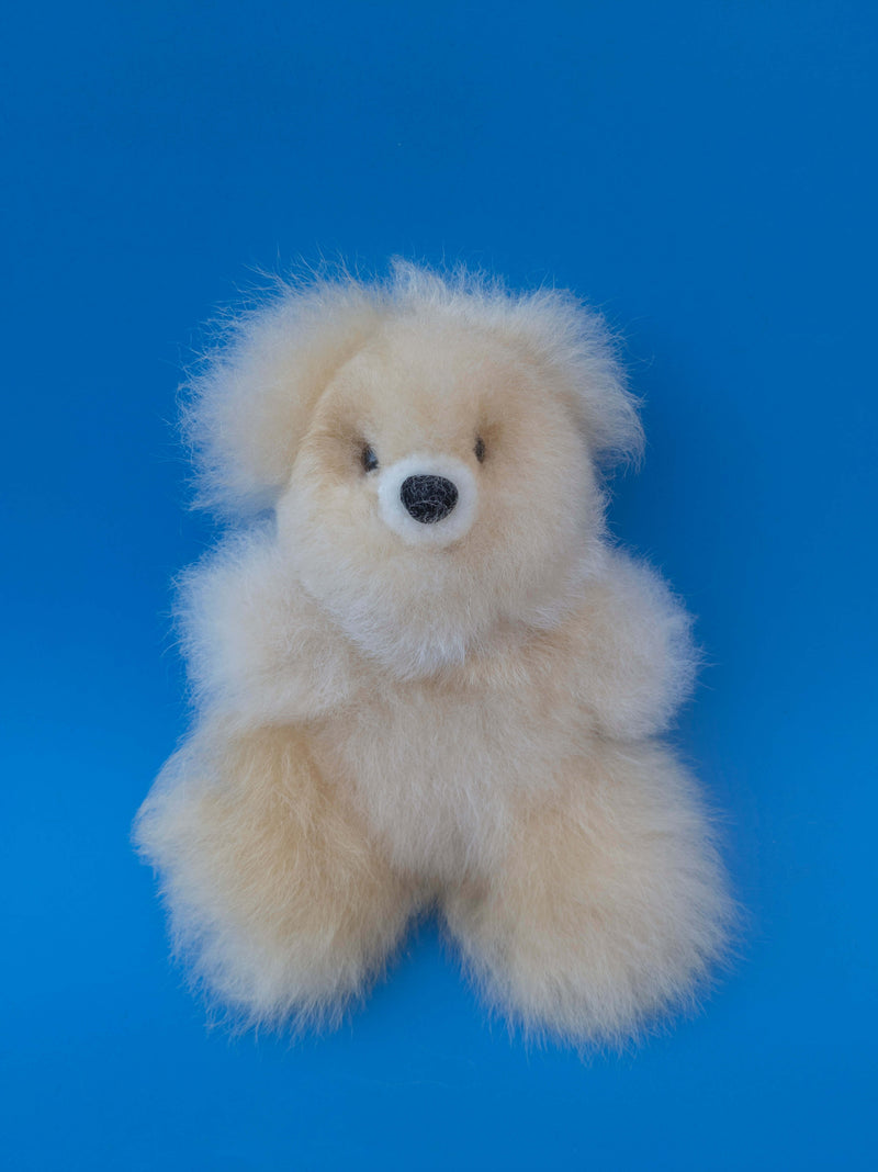 Peruvian Alpaca Stuffed Animal Small Teddy Bear Light Brown