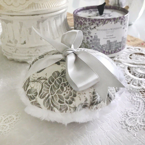 "Accessories - Powder Puff - Large 5"" - Gray White Floral"