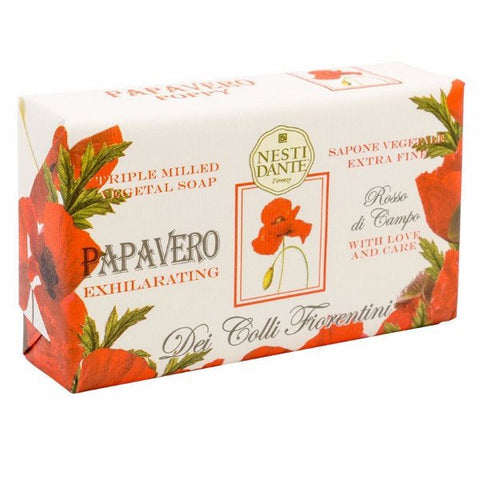 NESTI DANTE Italy Red Poppy Bar Soap (Papavero) - MerryBath.com