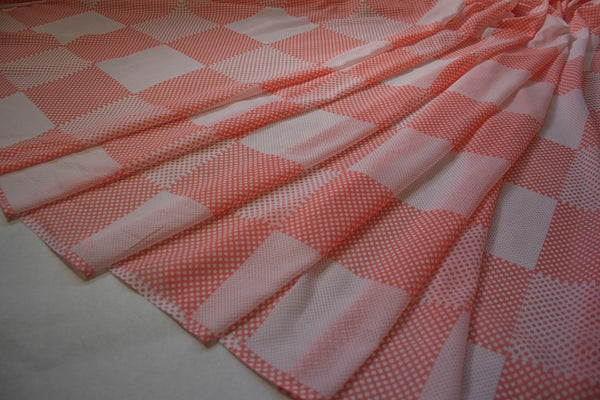 Coral Squares & Dots - Silk/Cotton