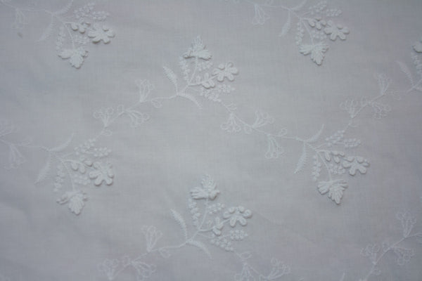Forget Me Not - White Embroidered Cotton