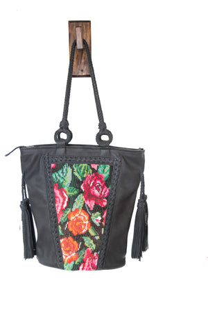 OOAK Santos Tote - Black Rose