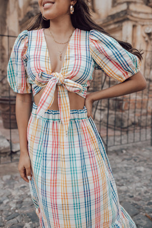 Selva Blouse - Rainbow Gingham