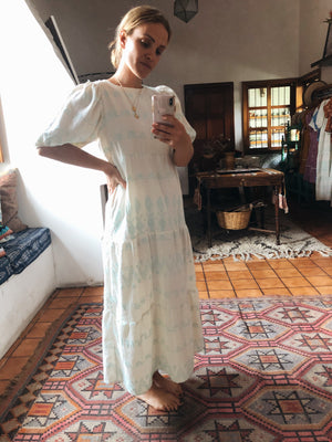 Tulum Dress - Coban (white with sea-foam green thread)