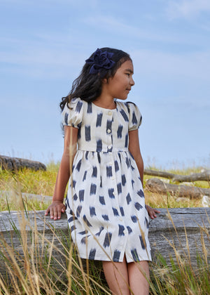 Niña Dress - Indigo & Crudo polka dot jaspe