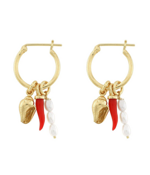 Cornicello Hoops - 18k Gold