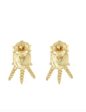 Labradorite Stud Earrings - 18k Gold
