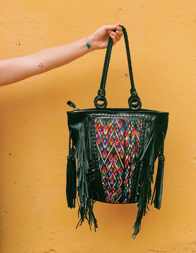 Santos Fringe Tote - Black with Chichi Huipil