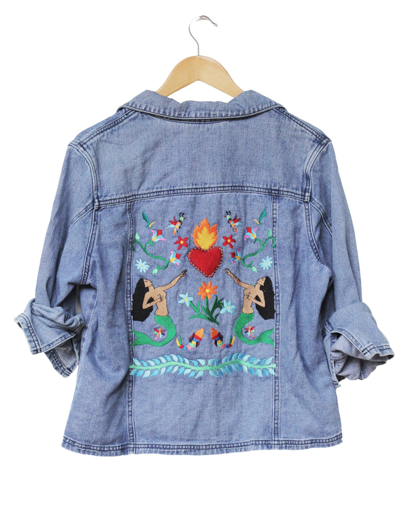 OOAK Embroidered Sacred Heart Denim Jacket