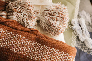 Mega Tassel Throw - Clay