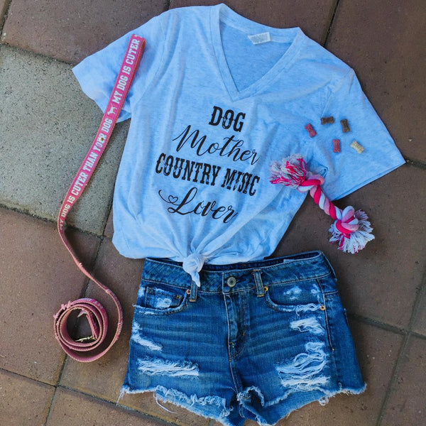 Dog Mother Country Music Lover Women's V Neck Tee