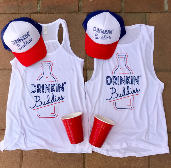 """Drinkin' Buddies"" Red, White & Blue Women's Tank"