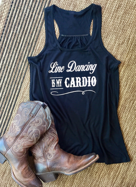 """Line Dancing is my Cardio"" Women's Black Tank"