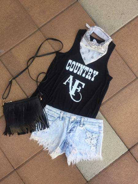 """COUNTRY AF"" Women's Black Tank"