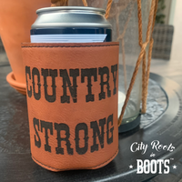 Country Strong Leatherette Engraved Koozie