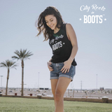 City Roots in Boots Women's Black Tank