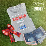 RED HEAD WHITE AND BLUE Women's Tank