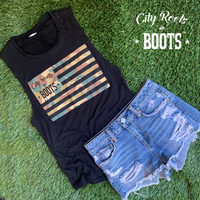 City Roots in Boots Women's Camo Flag Tank